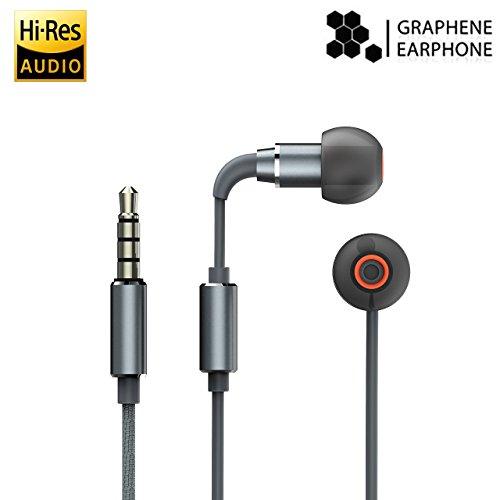 Wired Earphones,iHaper High-Resolution Audio Certified Graphene Earbuds Hi-Res Audio in-Ear Sport Hi-Fi Stereo Earphone with Built-in Microphone Black