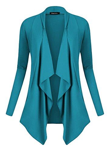 irregolare cardigan aperto giacca con manica Teal lunga Cardigan Drappeggiato Women anteriore Goco Urban orlo qOAUn