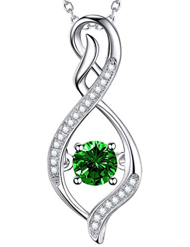 - Forever Love Pendant Green Emerald Necklace Sterling Silver Love Infinity Jewelry for Women Birthday Gifts for Mom Wife Teen Girls for Her