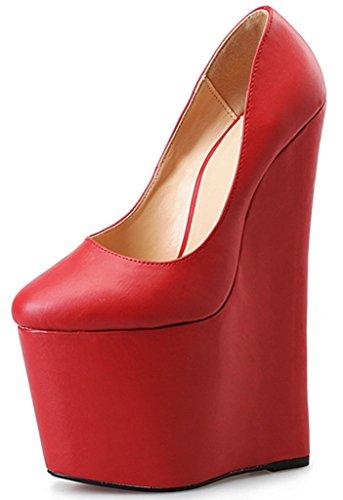 Shoes Toe Women's Platform Red High High Wedge Pumps Round CAMSSOO Heel OExdqazwz