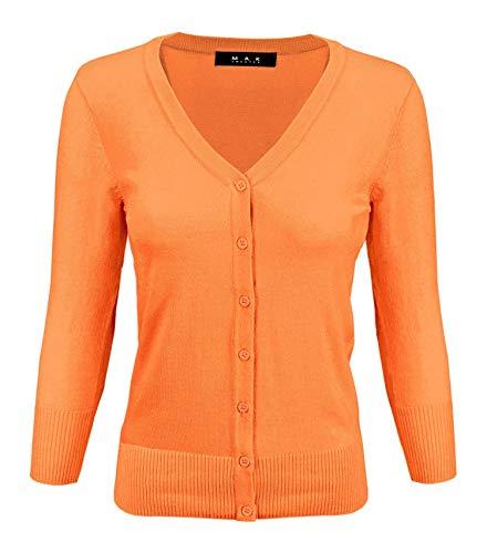 - YEMAK Women's 3/4 Sleeve V-Neck Button Down Knit Cardigan Sweater CO078-L.Orange-L