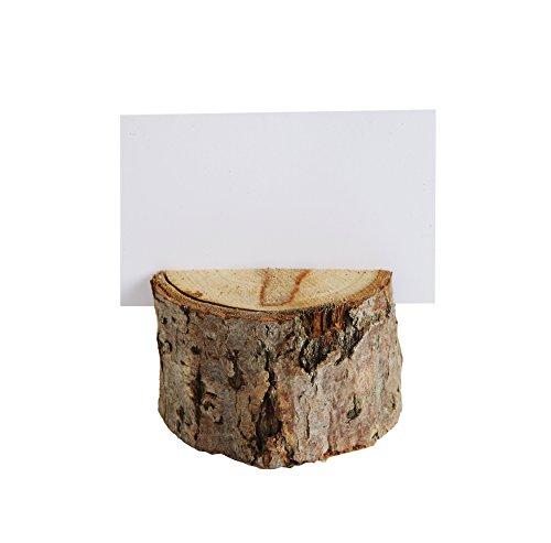 Creative Co-Op DA7515 - Juego de tarjetas y soporte redondo de madera para nombre, color café