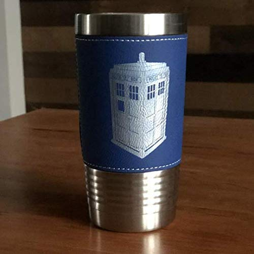 (Dr. Who Inspired Tardis Police Box - 20 oz - Stainless Steel Tumbler w/Clear Lid - (Choices of Color, Name, Date, Font, Straw & Spill Proof Slide Lid) - Custom Engraved Gift)