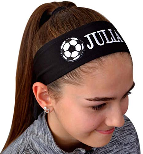 Funny Girl Designs Soccer Headband Moisture Wicking TIE Back Personalized with The Embroidered Name of Your Choice (Black TIE Back) (Head Soccer Best Character)