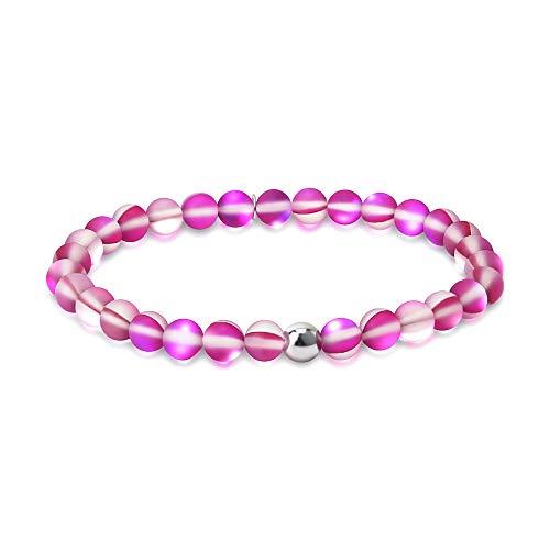- Townshine 6mm Round Moonstone Beaded Bracelet Stretch Mermaid Glass Bracelet for Women Girls,Couples Beaded Glass Bracelet (Hot Pink)