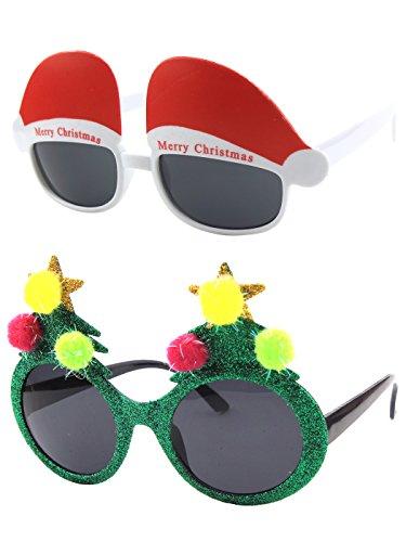 CGID Christmas Sun Glasses Costume Accessory Novelty Glitter Xmas Tree and Santa Hats - Fe Santa Eyewear