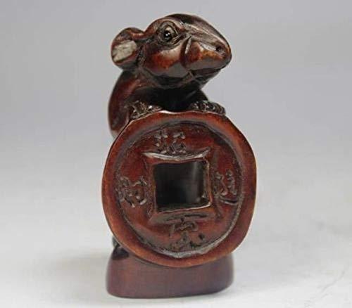DAVITU Oriental Old Boxwood Handwork Carving Mouse NETSUKE ()