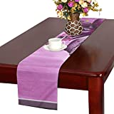 WBSNDB Lily Purple Waterfall Dream Image Picture Frame Table Runner, Kitchen Dining Table Runner 16 X 72 Inch for Dinner Parties, Events, Decor