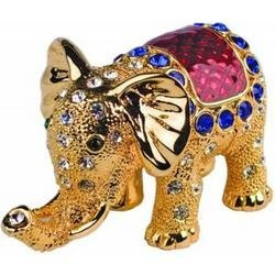 - G.I.I Gold Elephant Bejeweled Collectible Trinket Jewelry Box