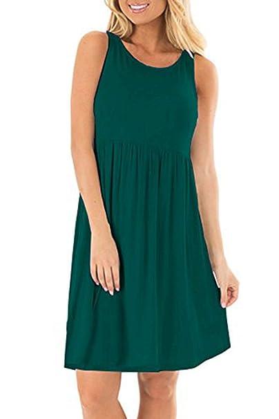 2ed59715a3f AUSELILY Women's Sleeveless Casual Pleated Tank T-Shirt Dresses (S, Dark  Green)