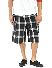 "<span class=""a-offscreen"">[Sponsored]</span>Men's Elastic Waist Shorts - Loose Fitting with Drawstring Checkered Pattern Below-The-Knee Cargo Shorts YG2613BC"