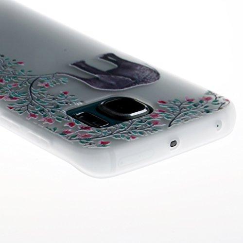 GZXiXi Funda Samsung Galaxy S6 Carcasa Transparente Silicona Soft Silicone Cover Bumper Funda Protectora Carcasa Blanda Caso Suave Flexible Caja Delgado Ligero Casco Anti Rasguños Anti Choque - Mandal Elefante Flores