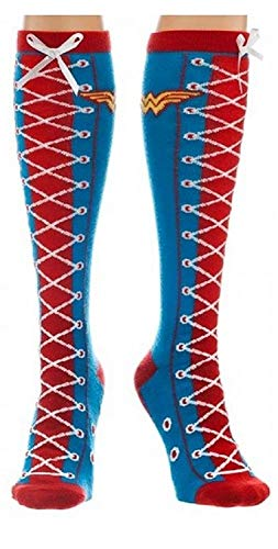 Wonder Woman Faux Lace Up Knee High Socks Size ONE -