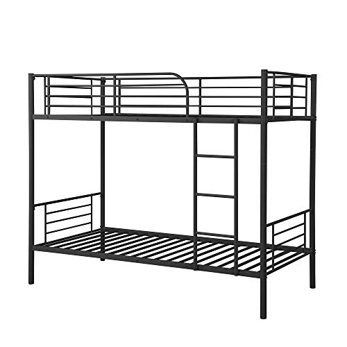 Steel Bunk Bed Twin Over Twin,JULYFOX Modern Metal Bed Frame 550 lb Heavy Duty with Stairs Side Guard Rails 10.8 inch Storage Space No Box Spring Needed 2 Twin Bed Platform for Kids Teens Black