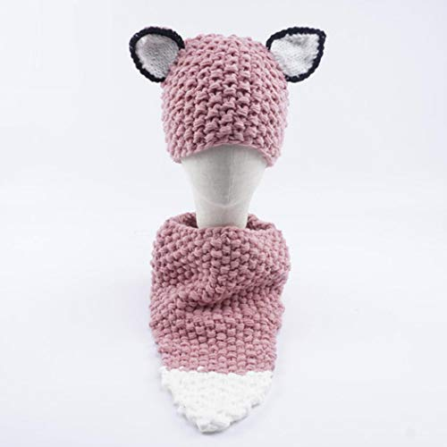 Legros Baby Hat Neckerchief Set Cartoon Fox Ear Style Winter Warm Knitted Suit
