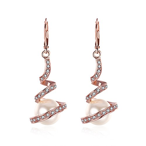 Dainty 14K Rose Gold Pearl Dangle Drop Earrings For Women Gilrs Crystal Rhinestone Leverback CZ - Pierced Rose Earrings Elegant