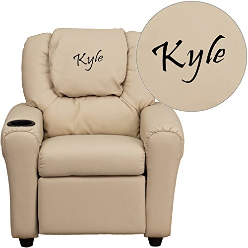 Flash Furniture Personalized Vinyl Kids Recliner with Cup Holder and Headrest, Beige