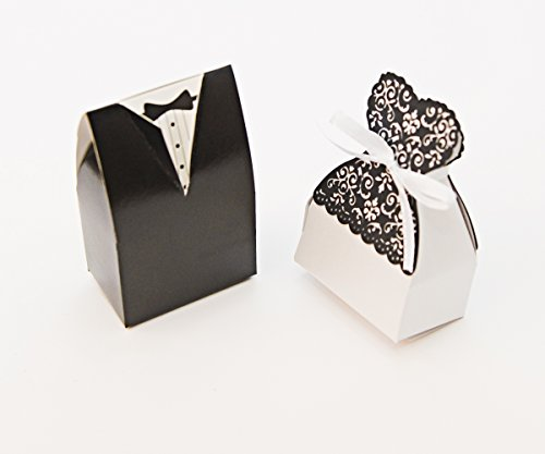 Bride Dress Candy Favor Bag (Bride and Groom Wedding Party Favor Boxes Quality. Wedding supplies, 10 each Dress and Tuxedo Candy Holders Set of 20 for your guests. 3 3/4