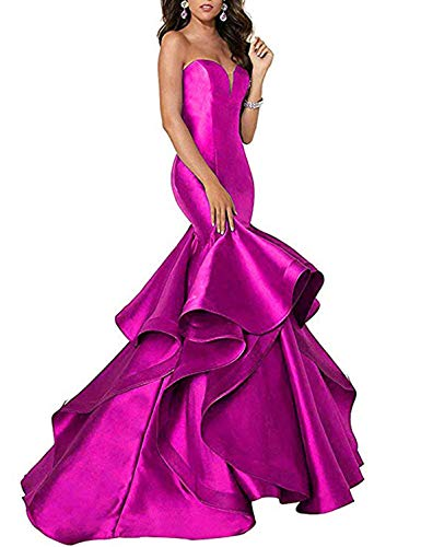 (Scarisee Women's Sweetheart Mermaid Prom Evening Dresses Tiered Formal Celebrity Party Gowns Sweep Train Hot Pink 02)
