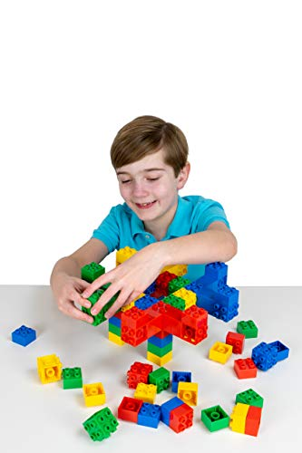 Strictly Briks Big Briks 24 Piece 3D Building Bricks and 60 Big Briks in Blue, Green, Red, and Yellow Creative Play Set - 100% Compatible with All Large Brick and Block Brands - Ages 3 and Up