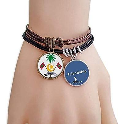 YMNW Maldives Asia National Emblem Friendship Bracelet Leather Rope Wristband Couple Set Estimated Price -