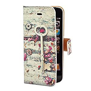 GHK - Vintage Key and Flower Pattern PU Full Body Case with Card Slot and Stand for iPhone 5/5S