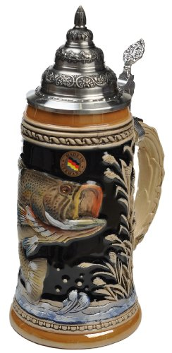 Beer Steins by King - Large Mouth Bass Fishing German Beer Stein (Beer Mug) 0.75l Limited Edition by KING
