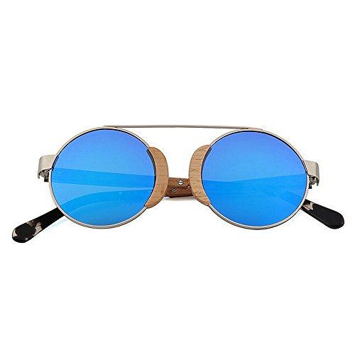 redondas retro aire sol Gafas Pesca Protección al hombres sol libre Conducir Gafas metálico de clásicas madera de marco de sol polarizadas de Playa Gafas sol UV d Gafas Retro esquí de Azul de para Gafas de qYUCxw
