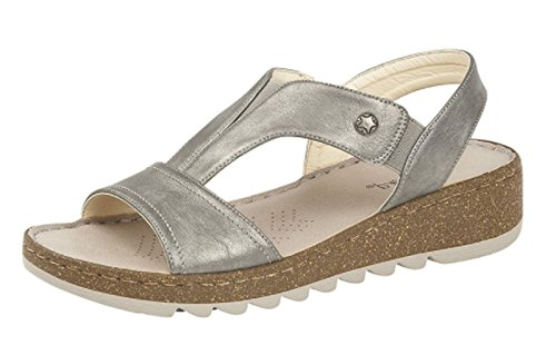 Boulevard Womens Ladies Elasticated Instep Comfort Wedge Sandals Black Pewter Bronze 3-8 Pewter 4i7IU
