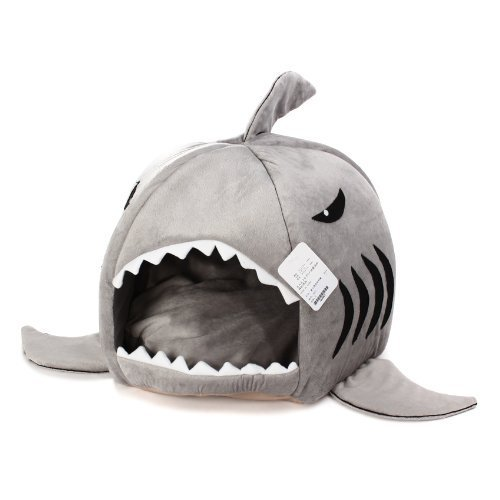 KOJIMA Shark Round House Puppy Bed with Pet Bed Mat, Small to Medium (Gray, Small)