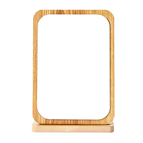 Restbuy Cosmetic Mirror Table Mirror Standing Mirror with Wood Frame and Floor Mirror for Makeup Shaving Brown 19 x 28 cm by Restbuy