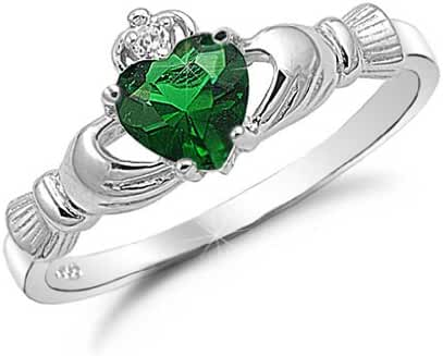 Kriskate & Co. Irish Claddagh Ring .925 Sterling Silver with Simulated Emerald Heart Promise Ring