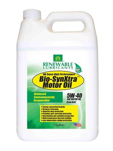 Renewable Lubricants 85343 Bio SynXtra HD Plus Super High Performance Motor Oil SAE 5W40 Low Ash, 1 Gallon
