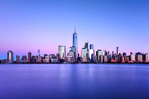 New York City, New York - Skyline with One World Trade Center - Photography A-91963 (16x24 Giclee Gallery Print, Wall Decor Travel Poster) (New York Skyline One World Trade Center)