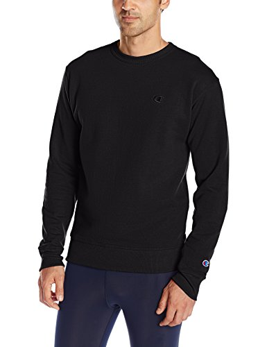 Champion Men's Powerblend Pullover Sweatshirt, Black, Large Black Crewneck Sweatshirt