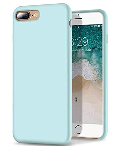 (iPhone 8 Plus Case/iPhone 7 Plus Case - Liquid Silicone - Gel Rubber - Shockproof Case with Soft Microfiber Cloth Lining Cushion (Mint))