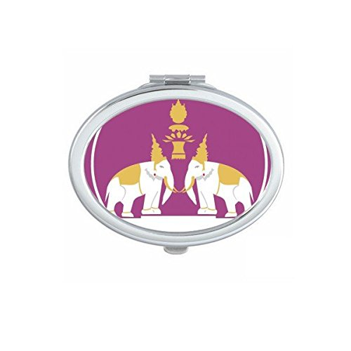 Kingdom of Thailand Thai Traditional Customs Culture Made in Thailand Two Elephant Shield Art Illustration Oval Compact Makeup Pocket Mirror Portable Cute Small Hand Mirrors by DIYthinker