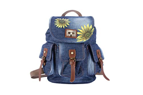 - Hand Painted Sunflower Canvas Backpack Women-Fabric Jeans Denim Laptop Bag Rucksack-Travel Vegan Backpack Girl-Floral Flower Purse-School College Library Book Backpack-Birthday Anniversary Gift