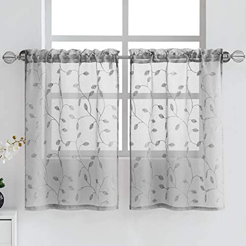 Fragrantex Botanical Grey Tiers Curtains for Kitchen Cafe Linen Sheer 36 inches Long Floral Embroidery Leaf Window Draperies for Dining Room Rod Pocket 2 Panels 28 Wx36 L