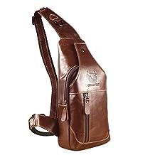 ShiningLove Mens Genuine Leather Sling Bag Single Shoulder Bag Men Chest Crossbody Satchel Waist Pack