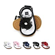 BENHERO Infant Baby Girls Flower Anti-Slip Rubber Sole Prewalker Toddler Sandals (11cm(0-6Months), 1974 Black)