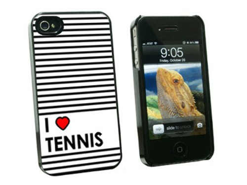 Graphics and More I Love Heart Tennis Snap-On Hard Protective Case for Apple iPhone 4/4S - Non-Retail Packaging - Black
