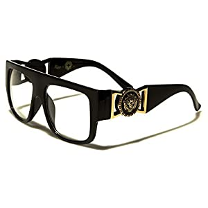 Kleo Flat Top Aviator RX Glasses Gold Buckle Hip Hop Rapper DJ Celebrity Clear Lens Sunglasses