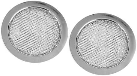 2個入り 耐久性 金属製 スピーカー グリル カバー 汎用 シルバー
