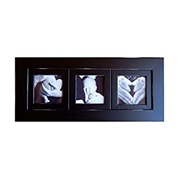 Collage Picture Frame, 8x8 Black Multi Photo Frame with 3 square openings - Triple Frame Hangs Horizontally or Vertically