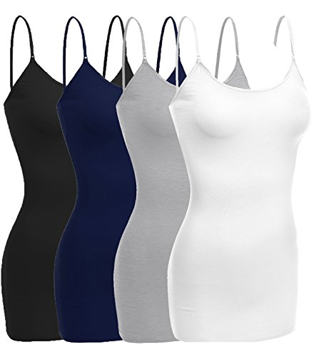 Emmalise Women Camisole Built in Bra Wireless Fabric Support Long Layering Cami, Small, 4Pk Black Navy Hgray White
