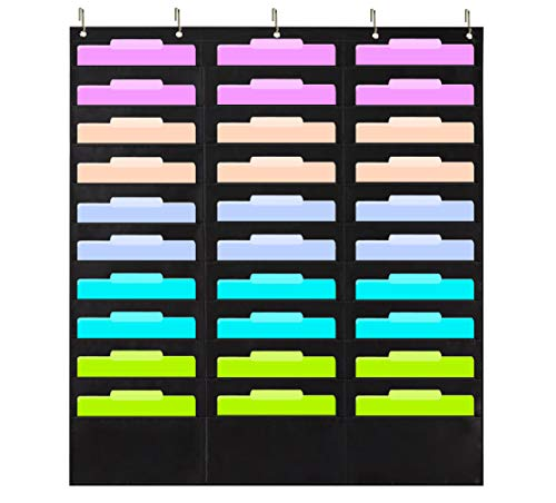 ZKOO Wall Hanging Classroom Mail Sorter Storage, 30 Pocket File Folder Organizer & 5 Hangers, Cascading File Organizer Pocket Chart - Organize Your Assignments, Files, Scrapbook Papers & More (Black)