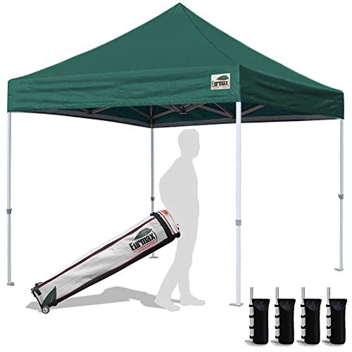 Eurmax 10'x10'Pop Up Canopy Tent Commercial Canopies with Heavy Duty Roller Bag,Bouns 4 sandbag Weights for Canopy(Forest Green)