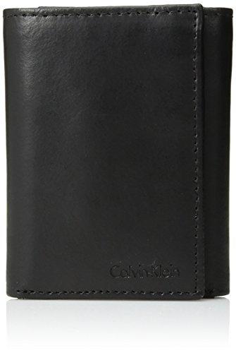 Calvin Klein Men's Leather Tri-Fold Wallet, Black, One - Calvin Wallet Leather