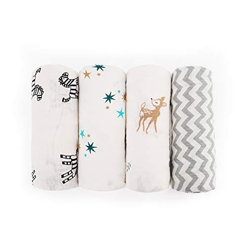 Moormmas Muslin Swaddle Baby Blankets - 100% Cotton Receiving Blankets, Baby Registry Milestone Gift, 4 Pack, Lovely Designs - Rabbit Giraffe/Zebra/Stripe/Starfish